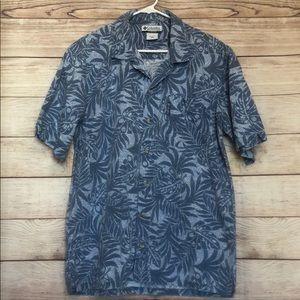 Columbia Men Blue Palm Leaf Tropical Aloha Shirt L